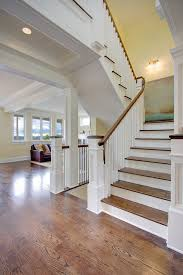 Recessed Handrail Newel Post Staircase Traditional With Columns Landing Oak Recessed