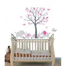 use elephant wall decals and elephant stickers to create an mini pink gray elephant tree wall stickers