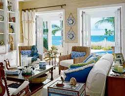 comfy tufted bench and long sofas inside beach themed living room