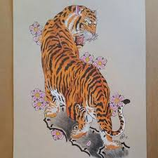 japanese tiger and cherry blossoms design by travis white