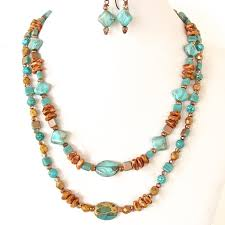 turquoise necklace sets images Easton turquoise glass bead necklace set earth and moon design jpg