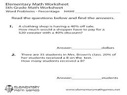 fifth grade percentage word problems worksheet u2013 guillermotull com