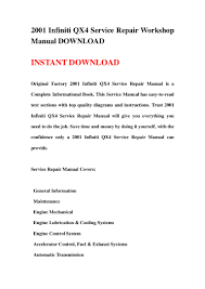 2001 infiniti qx4 service repair workshop manual download