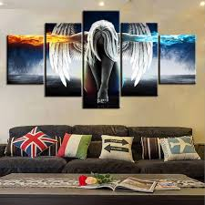 online shop 5pcs small large angel style printed canvas set