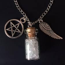 bottle necklace aliexpress images 1 pc protection supernatural angel wings necklace pentagram salt jpg