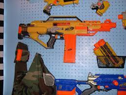 Nerf gun rack close up Bonus bandolier and Army vest shot …