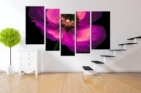 5 piece large pictures purple flowers canvas photography floral 5 piece photo canvas flower group canvas purple artwork floral art flower
