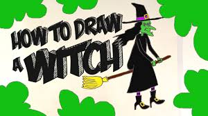 how to draw a witch on her broom easy step by step tutorial