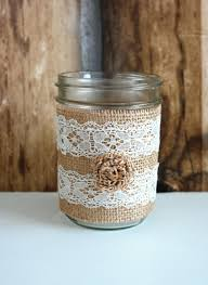 80s coffee mug pint size twine lace mason jar country chic wedding
