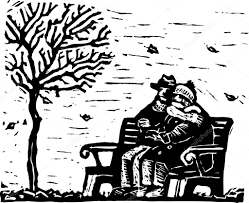 woodcut illustration of senior couple sitting on bench on cold day