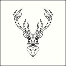 deer head geometric deer head art prints by beakraus redbubble