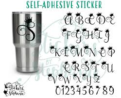 monogramed letters sticker crown monogram letters numbers lettering vinyl