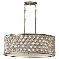 Large Drum Light Fixture by Feiss Lucia 3 Light Burnished Silver Large Pendant F2569 3bus