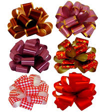christmas gift bows christmas gift pull bows 5 wide set of 6 assorted prints