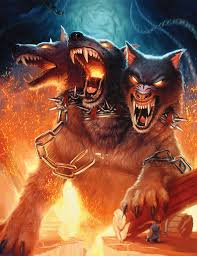 cerberus the 3 headed dog that guards hades in greek myth