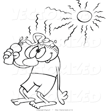 vector of a coloring page outlined toon guy putting sun block on