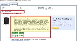 united airlines bag fee united airlines reduces star alliance gold checked baggage allowance