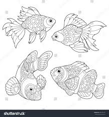 coloring page goldfish clown fish freehand stock vector 696153145