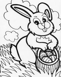 bunny basket easter eggs coloring download