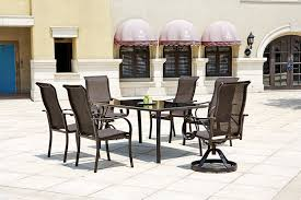 Swivel Outdoor Chair Amazon Com Coronado 7 Piece Dining Set Outdoor And Patio