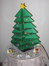 origami christmas tree made from poster board ornaments on tree