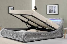Crushed Velvet Bed Chatsworth Crushed Silver Diamante Ottoman Storage Bed Double King