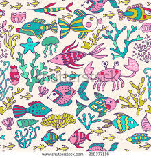 octopus wrapping paper seamless pattern fish crab stock vector 551884309