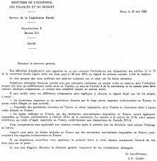 bureau impots annexe int échange de lettres des 29 mai et 24 juin 1985 entre