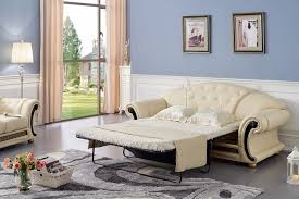 Pull Out Sleeper Sofa Bed Luxury Button Tufted Ivory Italian Leather Pull Out Sleeper Sofa