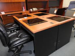 Glass Top Computer Desks by Used Down View Glass Top Computer Desk With Monitor 39 U2013 Used