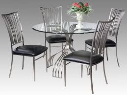 Modern Round Dining Table Sets Brushed Nickel Frame Modern 5 Piece Dinette Set