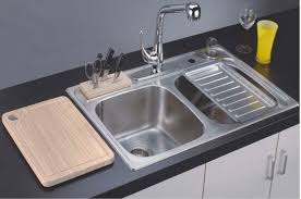 Modern Kitchen Sink With Drain Boards And Chrome Faucet | kitchen appliances drop in white cast iron kitchen sink with single