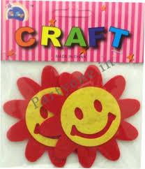Smiley Flowers - die cut felt shapes craft smiley flowers as p1pc0003577