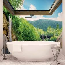 wall mural photo wallpaper xxl roof window view waterfall forest image is loading wall mural photo wallpaper xxl roof window view
