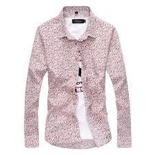 fashion mens luxury stylish floral slim fit long sleeve dress