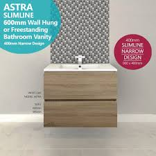 astra slimline 600mm white oak timber wood grain narrow bathroom