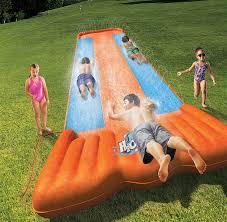 bestway h2o go triple slider kids backyard outdoor 3 person water