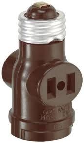 light socket outlet adapter leviton 8751403 single light socket 2 outlet adapter brown