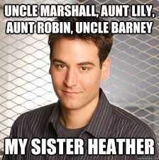 Lily Meme - uncle marshall aunt lily aunt robin uncle barney my sister