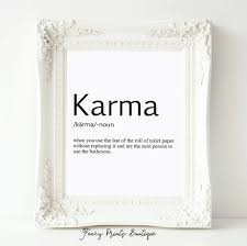 Toilet Paper Funny by Karma Definition Print Toilet Paper Art Bathroom Art Karma