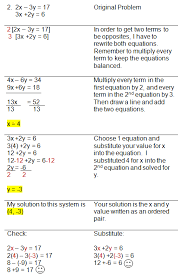 linear systems worksheet solving systems of equations using combinations method