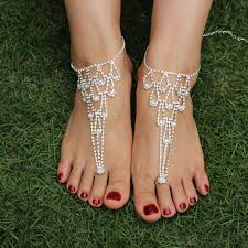 barefoot sandals rhinestone heart foot jewelry barefoot sandals anklet foot
