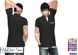 nygirl sims 4 high collar polo with white dress shirt