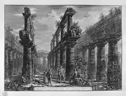 remains of columns making up the side porches of the temple in the
