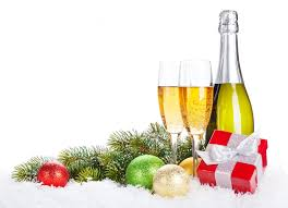 gifts balls champagne glasses holiday happy new year merry