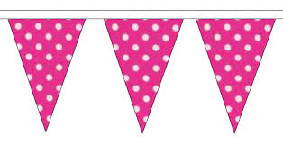 Flag Triangle Pink And White Polka Dot Traditional 10m 24 Flag Polyester