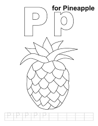 p for pineapple coloring page with handwriting practice download