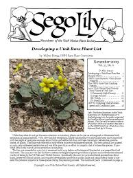 native plant society nov dec 2009 sego lily newsletter utah native plant society