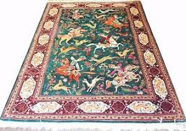 Green Persian Rug Hunting Scene Qum Masterpiece Pure Silk 3x5 Persian Rug Green Qom