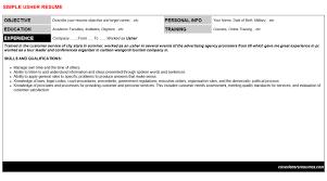 usher cover letter u0026 resume